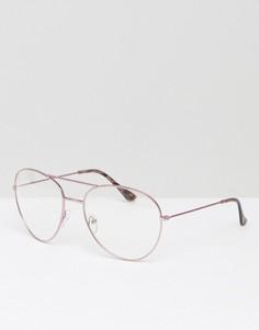 Розовые очки-авиаторы с прозрачными стеклами ASOS - Розовый