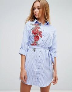 Платье-рубашка с цветочной вышивкой и поясом Parisian - Синий