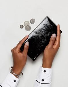 Блестящий кожаный кошелек ASOS - Черный