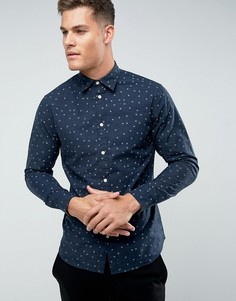 Облегающая рубашка с цветочным принтом Selected Homme - Темно-синий