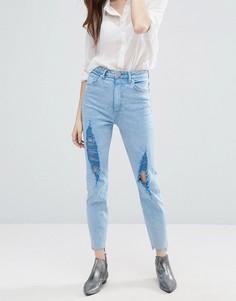 Узкие джинсы в винтажном стиле с завышенной талией, прорехами и неровно обрезанным низом штанин ASOS FARLEIGH - Синий