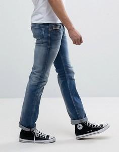 Прямые выбеленные джинсы с потертостями Diesel Safado 84DD - Синий