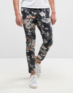 Укороченные брюки скинни с цветочным принтом ASOS - Зеленый
