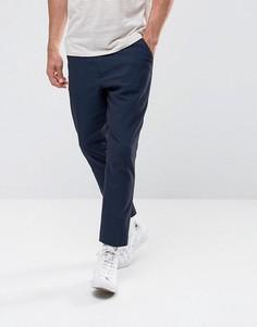 Темно-синие строгие брюки из легкой жатой ткани в полоску ASOS - Темно-синий
