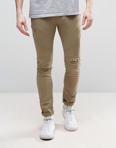 Супероблегающие эластичные джинсы с рваными коленями Religion - Рыжий