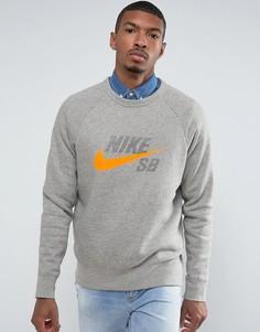 Серый свитшот с круглым вырезом Nike SB Icon 860106-063 - Серый
