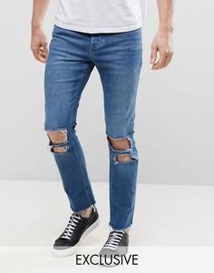 Выбеленные укороченные джинсы скинни с необработанным краем Mennace - Синий
