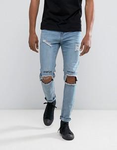 Выбеленные джинсы скинни с вышивкой и рваной отделкой на коленях Roadies of 66 - Синий