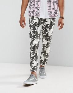 Укороченные брюки скинни с пальмовым принтом ASOS - Светло-серый