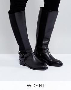 Кожаные сапоги для широкой стопы ASOS CURIOUS - Черный