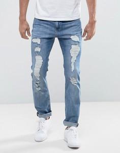 Рваные джинсы узкого кроя Lee Rider Urban Trash - Синий
