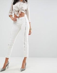 Бежевые джинсы скинни с заниженной талией и шнуровкой ASOS PREMIUM WHITBY - Белый