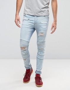Суперузкие выбеленные джинсы в байкерском стиле с рваной отделкой ASOS - Синий