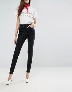 Черные выбеленные джинсы с завышенной талией и вставками ASOS SCULPT ME - Черный
