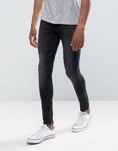 Черные выбеленные джинсы скинни с рваной отделкой New Look - Черный