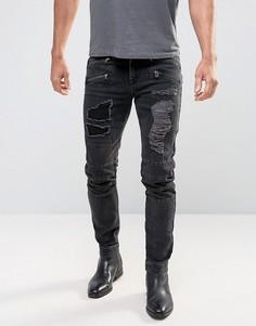 Черные выбеленные джинсы скинни в байкерском стиле ASOS - Черный