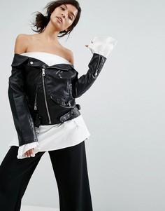 Куртка из искусственной кожи с открытыми плечами Style Mafia - Черный