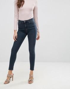 Темно-синие выбеленные зауженные джинсы с завышенной талией ASOS RIDLEY - Синий