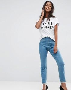 Синие джинсы слим в винтажном стиле с завышенной талией ASOS FARLEIGH - Синий