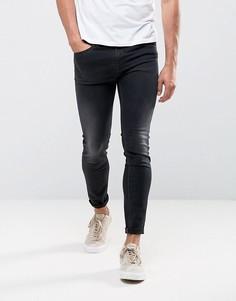 Темно-выбеленные супероблегающие джинсы Diesel Stickker 684J - Черный