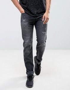Прямые джинсы с потертостями Diesel Buster 0683W - Черный
