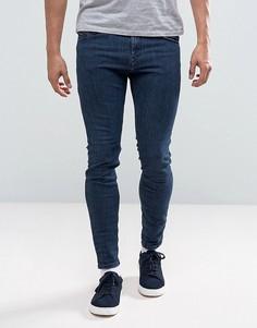 Темные выбеленные джинсы скинни Diesel Stickker 683K - Синий