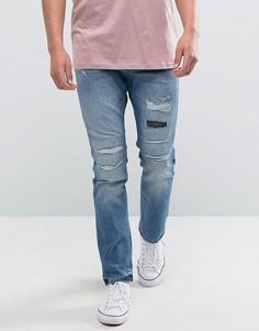 Потертые джинсы слим Esprit - Синий