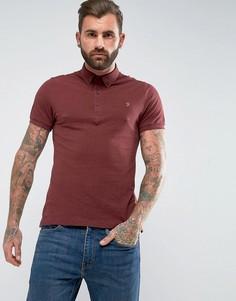 Бордовая футболка-поло узкого кроя из пике Farah Merriweather - Красный