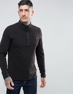 Черная узкая футболка-поло из пике с длинными рукавами Farah Merriweather - Черный