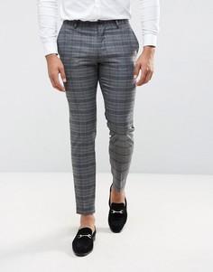 Облегающие брюки в клетку Jack & Jones Premium - Серый