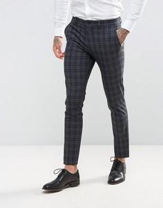 Зауженные премиум-брюки в клетку Jack & Jones Wedding - Серый