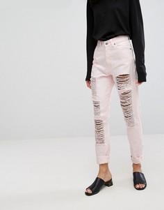 Джинсы в винтажном стиле с прорехами и потертостями Dr Denim - Розовый