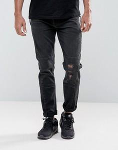 Выбеленные черные байкерские джинсы скинни с крупными молниями ASOS - Черный