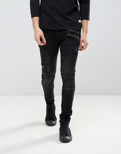 Черные выбеленные джинсы скинни с рваной отделкой ASOS - Черный