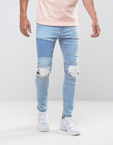 Светло-голубые супероблегающие джинсы в байкерском стиле с рваной отделкой и накладками ASOS - Синий