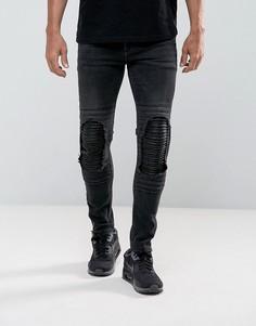 Черные байкерские супероблегающие джинсы с рваной отделкой и вставками из искусственной кожи ASOS - Черный