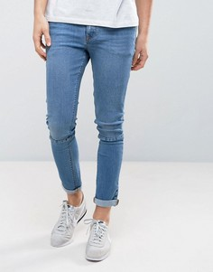 Синие выбеленные джинсы скинни со вставками ASOS - Синий
