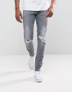 Серые рваные джинсы скинни ASOS - Серый