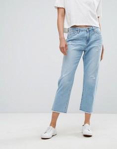 Потертые джинсы прямого кроя Esprit - Синий