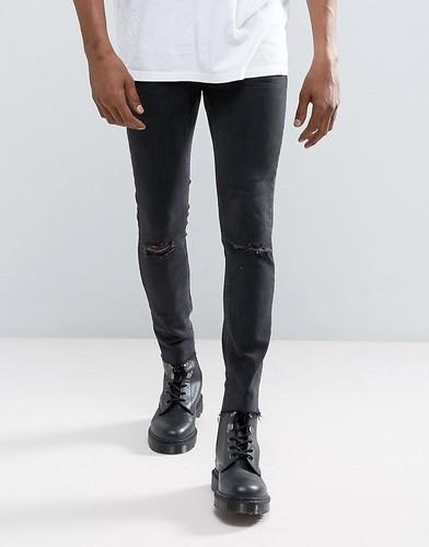 Черные рваные супероблегающие джинсы Mennace - Черный