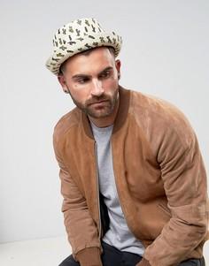 Соломенная шляпа с принтом кактуса ASOS - Бежевый