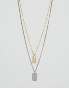 Многоярусное ожерелье с металлической пластинкой ASOS - Серебряный