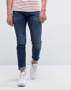 Узкие джинсы с нашивкой в виде знака мира Love Moschino - Синий