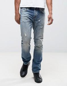 Узкие джинсы с потертостями AllSaints - Синий