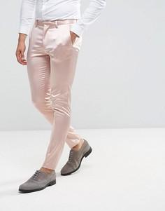 Светло-розовые строгие сатиновые брюки скинни ASOS Wedding - Розовый