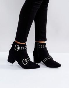 Полусапожки на среднем каблуке с острым носом Truffle Collection - Черный