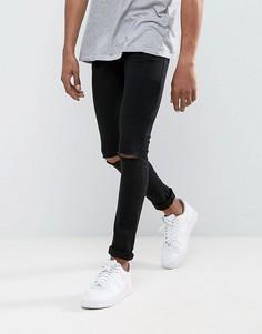 Супероблегающие джинсы с рваными коленями Criminal Damage - Черный