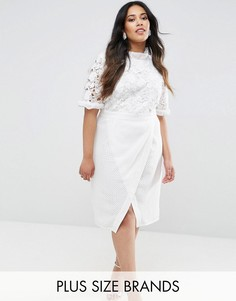 Платье-футляр с кружевным лифом и юбкой с запахом Truly You - Белый