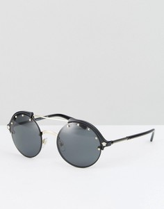 Круглые солнцезащитные очки с двойной планкой сверху Versace - Черный