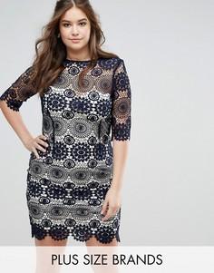 Кружевное платье с рукавами 3/4 Little Mistress - Темно-синий